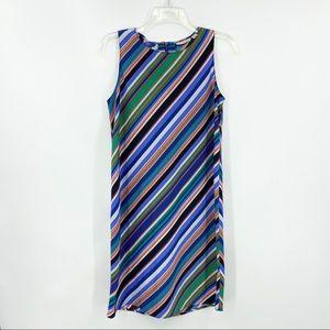 HALOGEN Sleeveless Stripe Shift Dress Lightweight